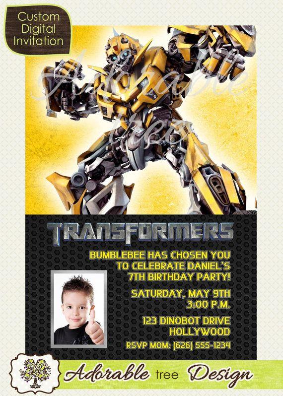 Transformers bumblebee photo birthday invitation design no 3 items similar to transformers bumblebee photo birthday invitation design no 3 on etsy filmwisefo
