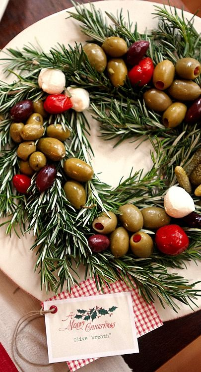 one pretty pin} Olive wreath Yummy Food Pinterest Christmas