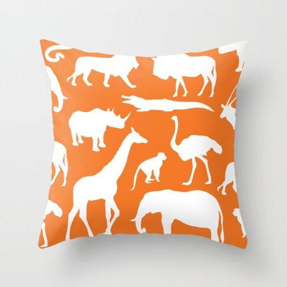 Safari Animals Pillow With Insert - African Animals Pillow Cover - Safari Decor - Orange Pillow Cove