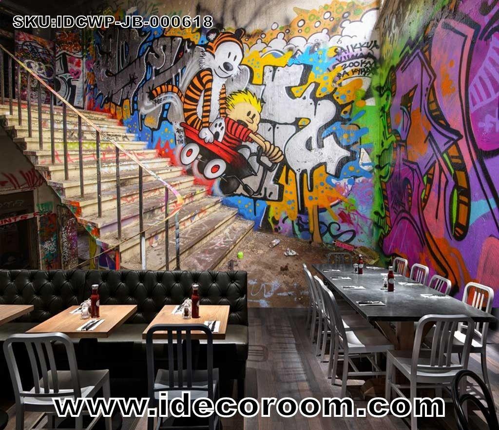 3d Wallpaper Graffiti Wann And Stairs Art Wall Murals