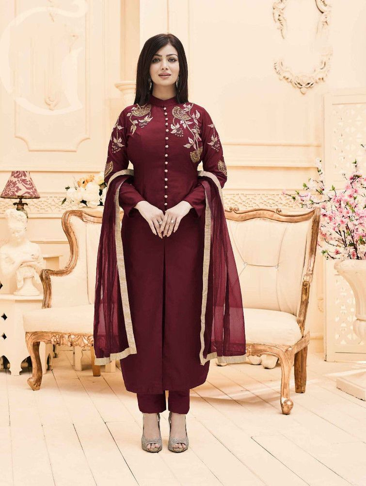 New Indian Pakistani Ethnic Wear Anarkali Taffeta Silk Wedding Wear