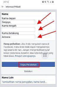 cara mengubah nama di facebook lite