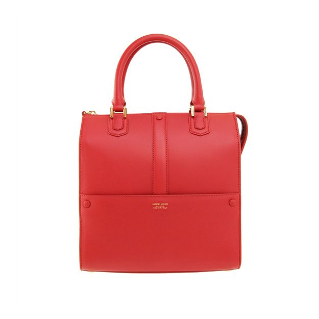 IN THE RED | GIORGIO ARMANI - Red calfskin tote with zip closure, external pocket, internal pockets, double handle and logo detail.