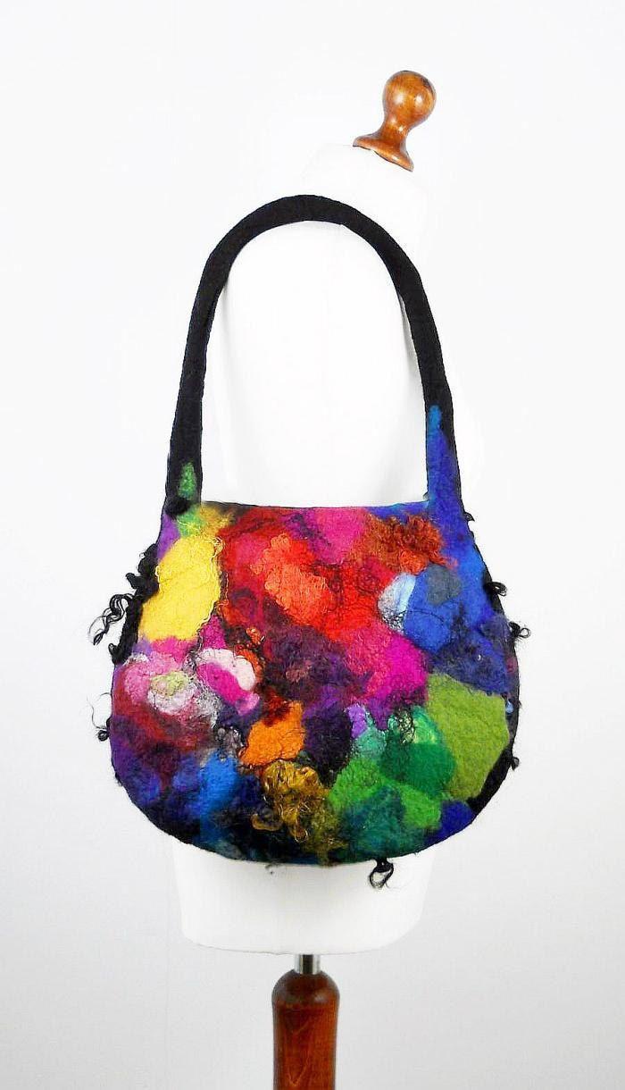 Felted Bag Multicolor Handbag Felt Purse Rainbow Bag wild Felt Nunofelt Nuno…