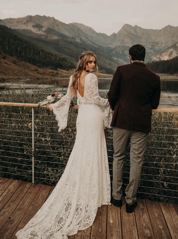 rocky mountain styled elopement Bohemian wedding dresses