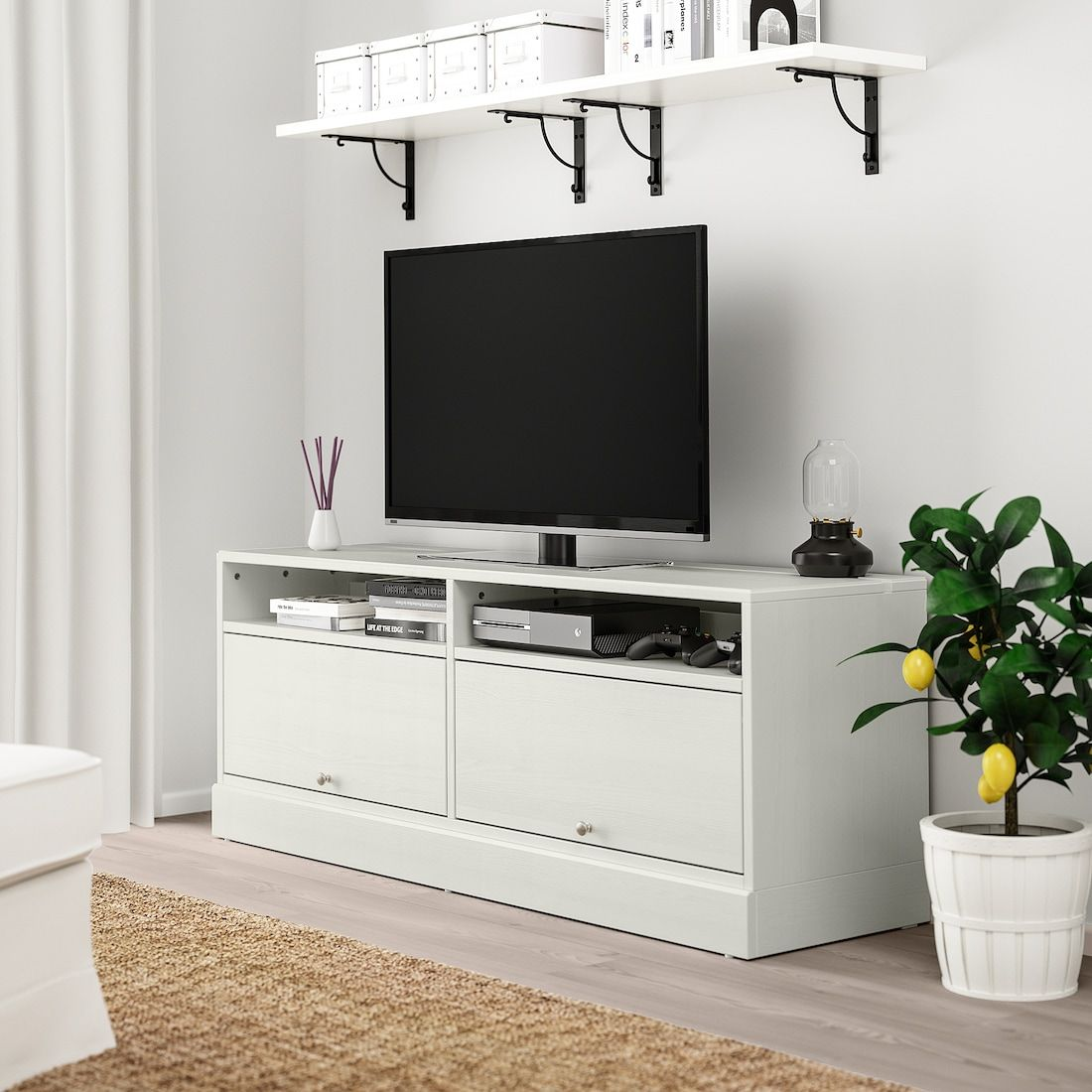 Havsta Tv Unit With Base White Ikea Tv Bench Tv Unit White Tv Unit [ 1100 x 1100 Pixel ]