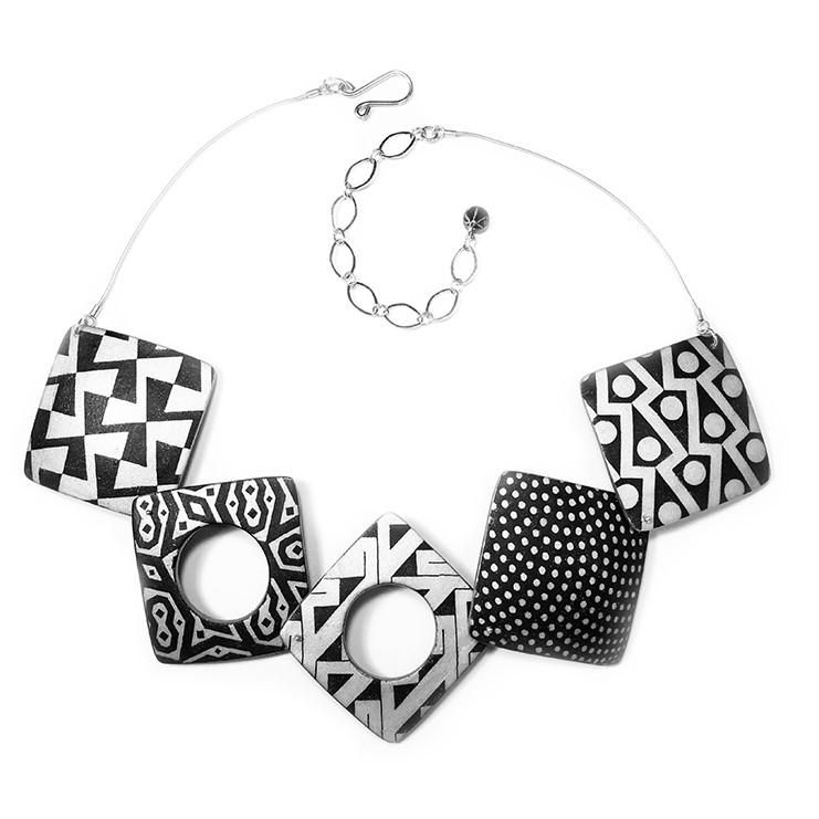 ALL NEW Ivory and Black Square Polymer Clay Necklace (With