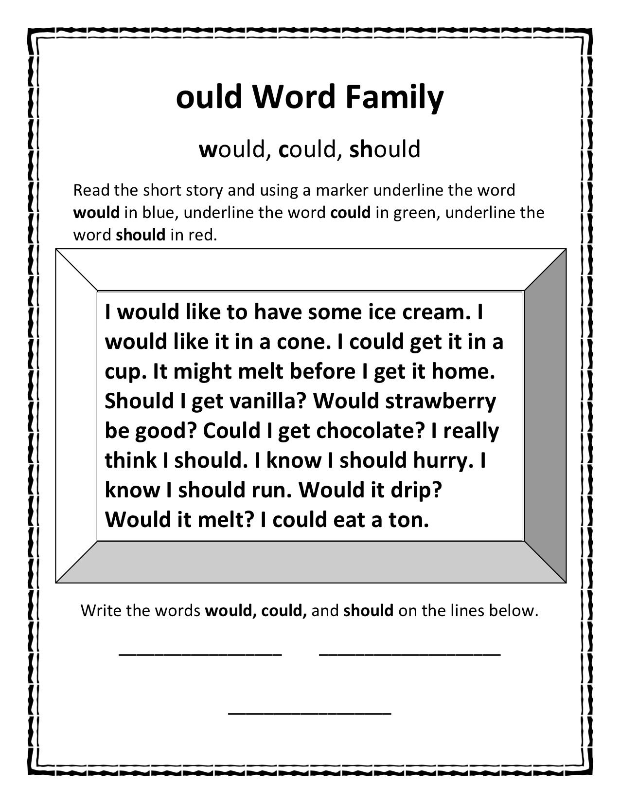 Ould Word Family I Couldn T Find A Good Worksheet To