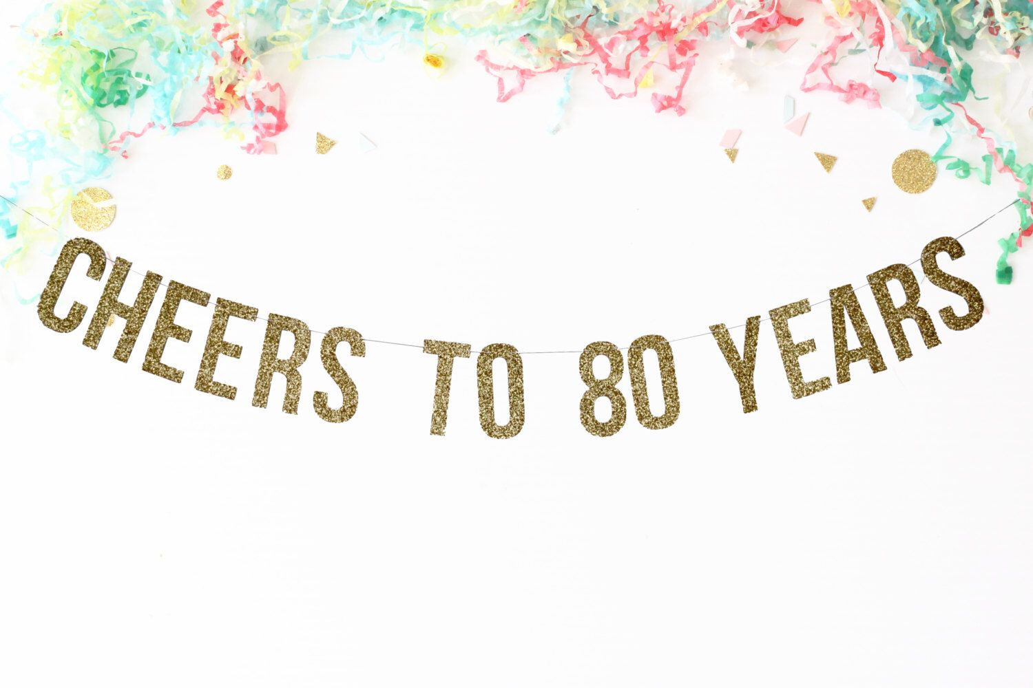 Cheers to 80 years banner birthday party banner for 80th decoration