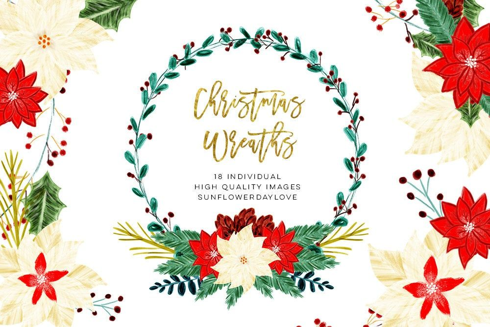 Photo of Christmas Floral Wreaths Illustration Clip Art, Christmas Flowers Clipart, Holid …