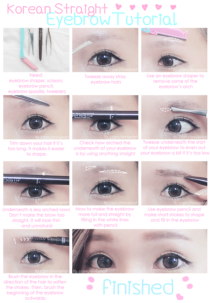 Korean Straight Eyebrow Tutorial Make Up Pinterest Eyebrow