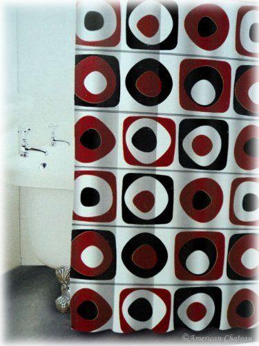 NEW Retro White Red Squares BLACK Circles Bathroom Bath FABRIC Shower Curtain, http://www.amazon.com/dp/B007TXVLB8/ref=cm_sw_r_pi_awdm_rsdRub1HAQEGJ
