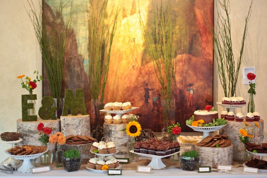 Logs and plants buffet  http://taliaevents.com/blog/talia-events-wedding-michelle-eric-sunrise-amphitheater-boulder-rembrandt-yard-boulder/