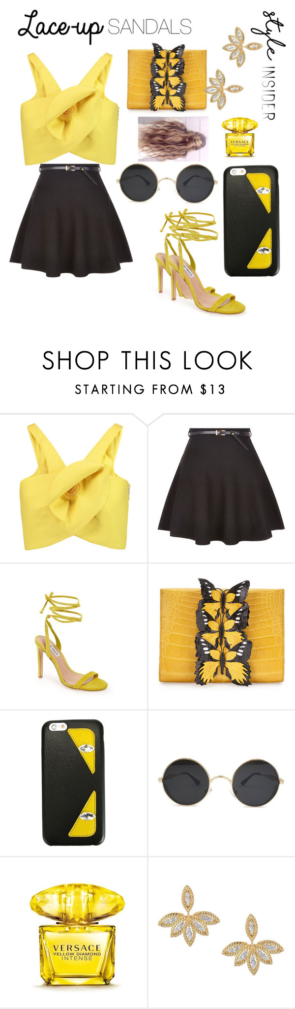 """laced up"" by adrislay ❤ liked on Polyvore featuring Delpozo, New Look, Steve Madden, Nancy Gonzalez, Fendi, Versace, Roberto Coin, contestentry, laceupsandals and PVStyleInsiderContest"