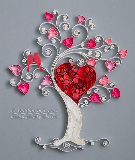 Wunderschoner Baum Mit Herzen Quilling Kunst Auf Papier