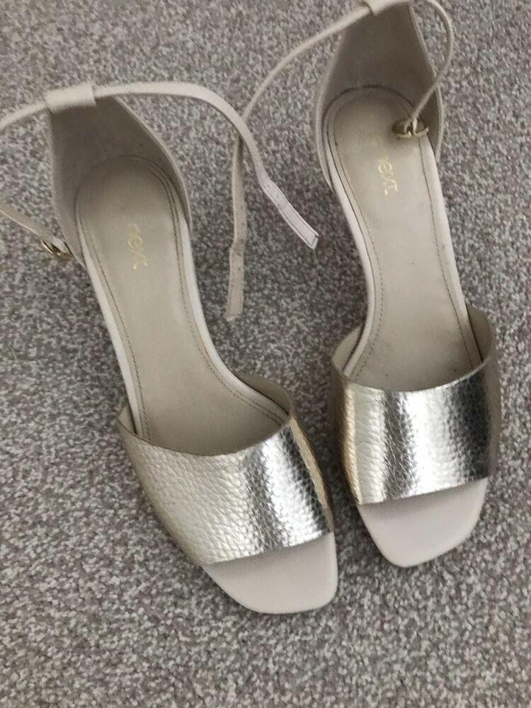 Next Gold Peep Toe Kitten Heels Shoes Kitten Heels From Ebay Uk