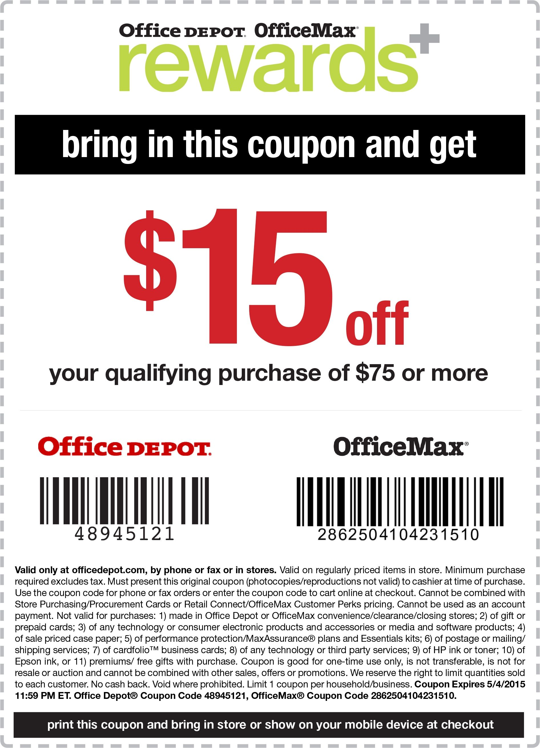 Pinned April 30th 15 Off 75 At Officemax Amp Officedepot Or With Regard To Printable Office Depot Coupons 2018 Coupons Office Max Free Printable Coupons