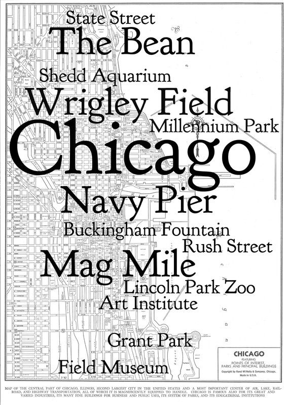 1940s Street And Attraction Map Of Chicago Reproduction Gift
