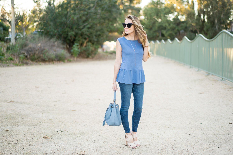 LOFT peplum blue top, J. Crew toothpick skinny jeans, Henri Bendel bucket bag…