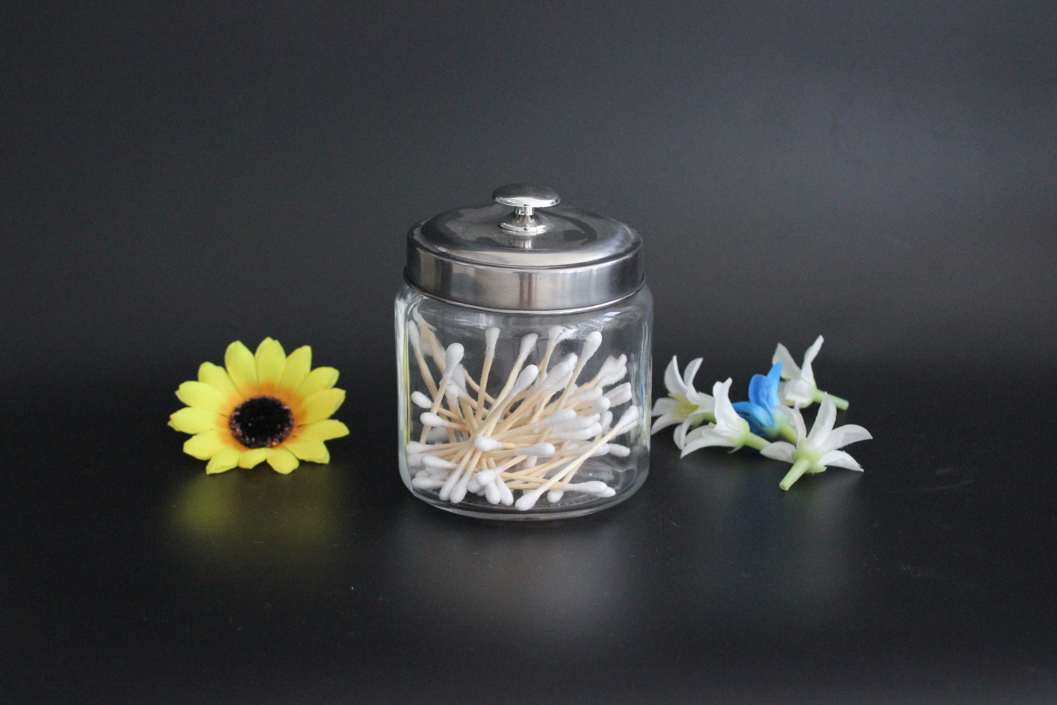 --------This clear glass jars with knob are an attractive way to organize items like Q-tips, cotton balls, and bath salts  ------Clear glass let you see what inside  ------Wipe dry immediately after wash