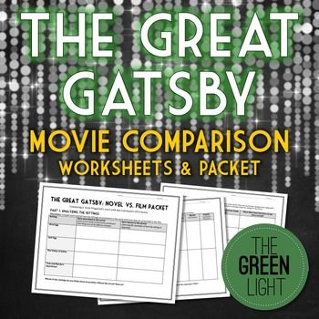 The Great Gatsby Movie Worksheets - Novel to Film Comparison | TpT ...