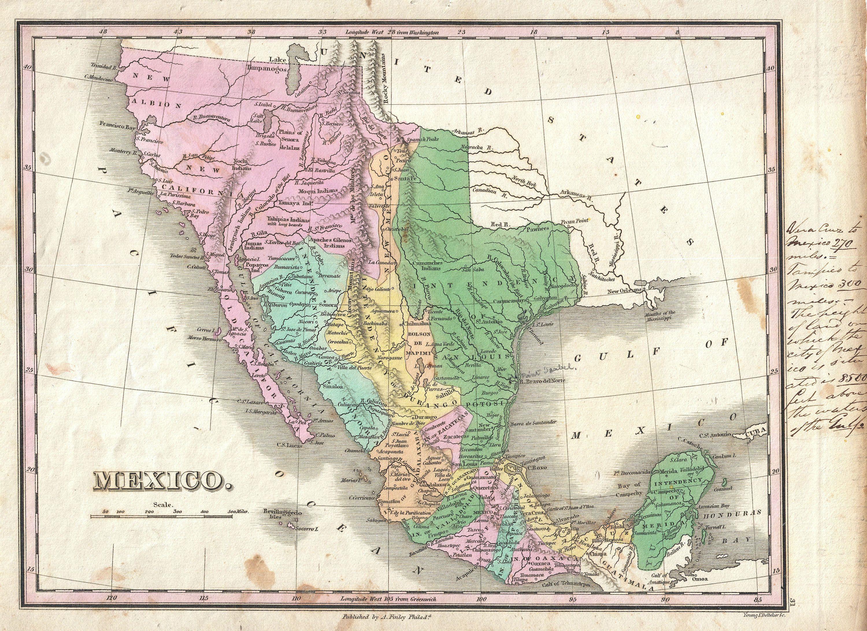 1827 Finley Map Of Mexico Upper California And Texas