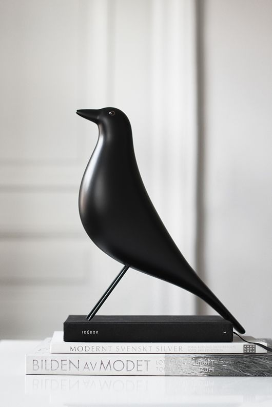 """EAMES HOUSE BIRD by @Vitra Furniture Furniture #design #eames #black Charles and Ray Eames augmented the interior """"collage"""" of the Eames House with numerous objects brought back from their extensive travels."""