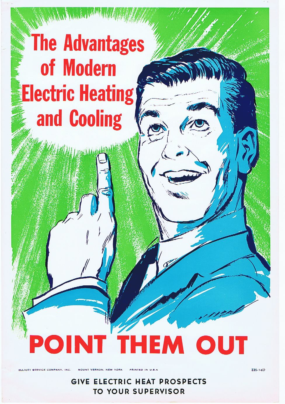 The Advantages Of Modern Electric Heating And Cooling 1960s Original Vintage Poster Listed On Antikbar Co Uk Plakat Ventilator Poster