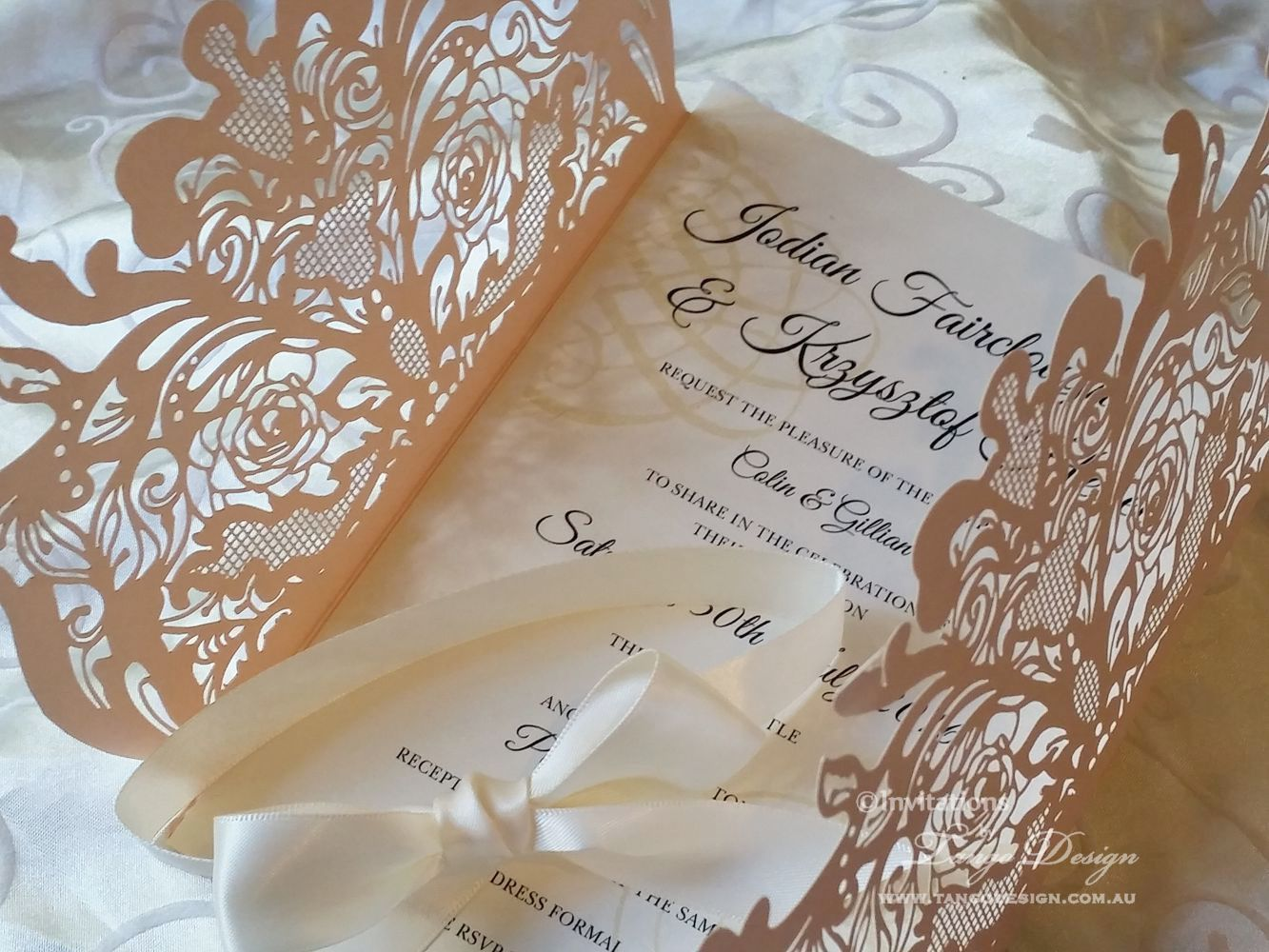 Blush coral wedding invitation laser cut with rose lace design ...