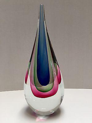 """VTG Murano Flavio Poli Era Glass Sommerso Glass Teardrop Sculpture 3 Color 11"""""""