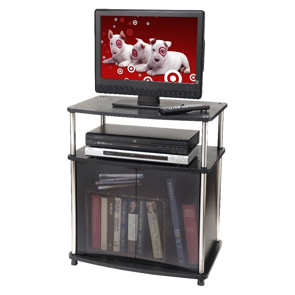 24 Tv Stand With Glass Doors Black Johar Furniture Tv Stand
