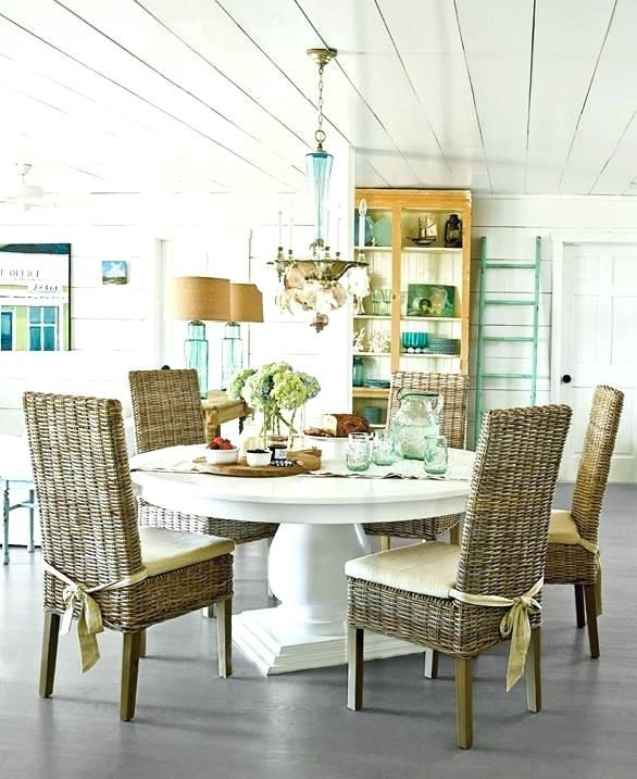 Awesome Coastal Dining Room Sets Table Beach Style White Wicker Parsons Chairs  Ideas Base And Large Size