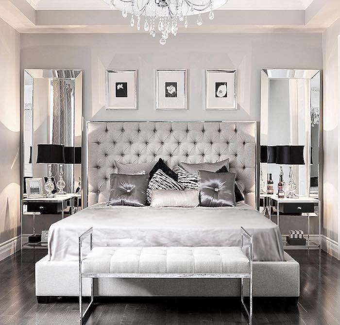 schöne schlafzimmer in kalten farben, weiß und silbern kombinieren - schlafzimmer ideen weis modern