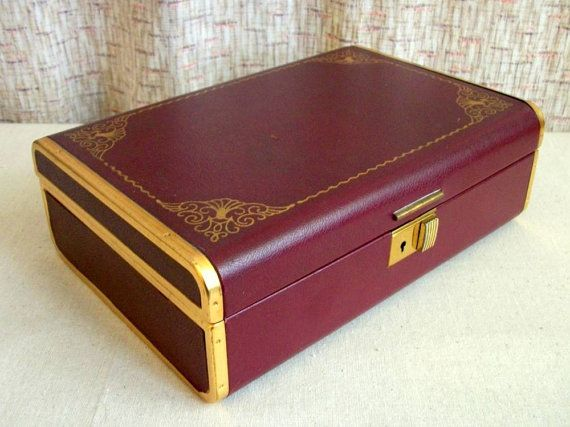 Farrington Jewelry Box Enchanting Farrington Jewelry Box Vintage 60's Burgundy And By CarawayCache