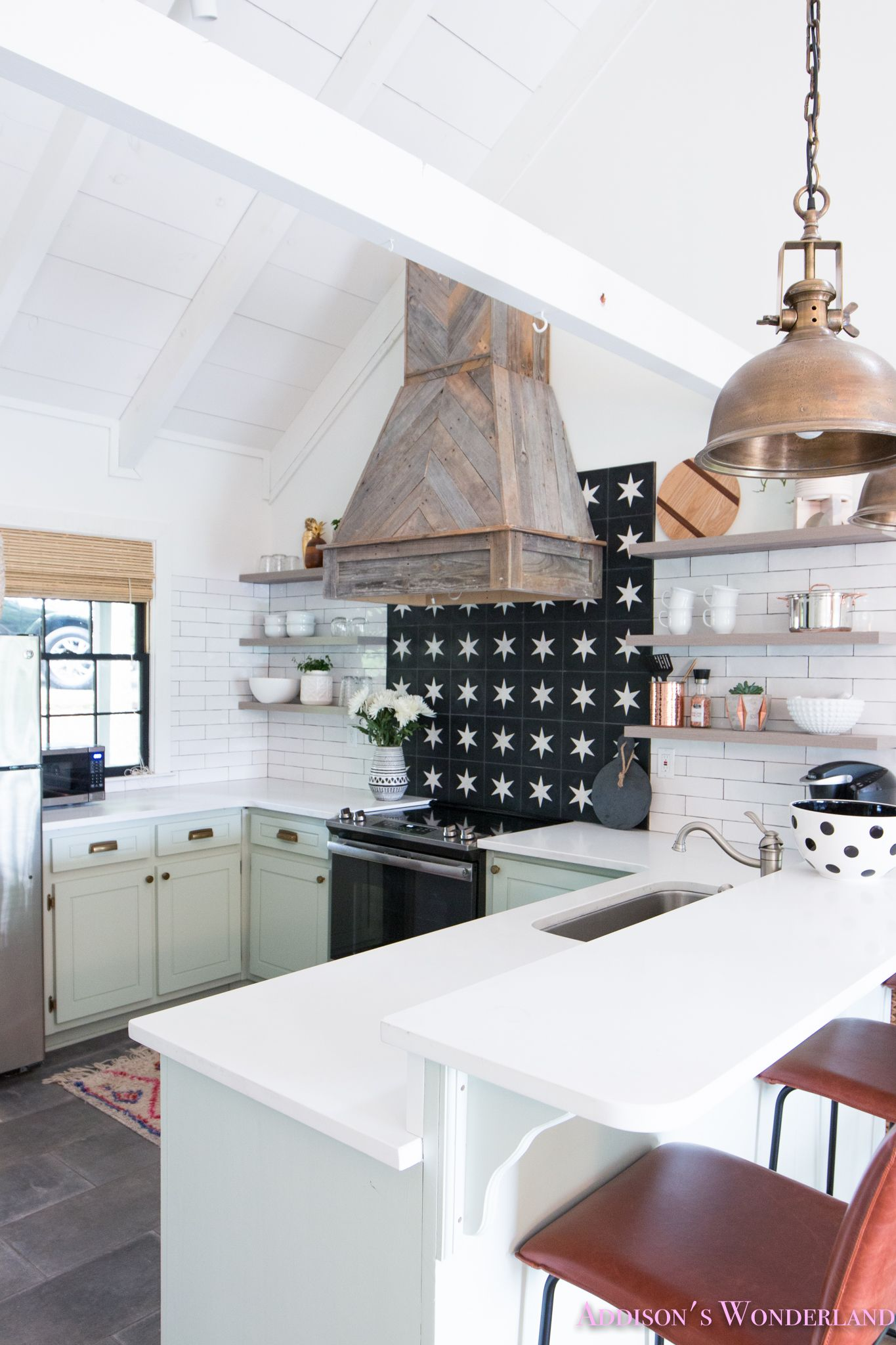 The full reveal of our white cabin kitchen w light mint green