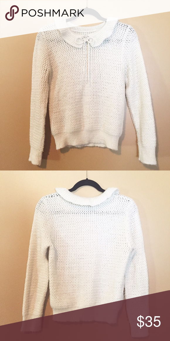 Vintage ivory bow tie up collar fuzzy sweater Ivory bow tie up collar  sweater size S M not Free People brand only tagged for style reference. 696850edc