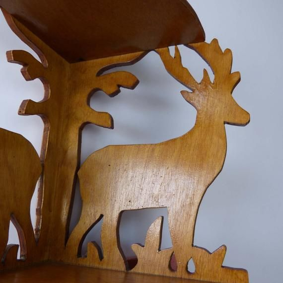 Corner Display Shelf Wooden Scroll Cut Deer Hanging Wall Knick Knack Home Decor 2 Shelves #knickknack