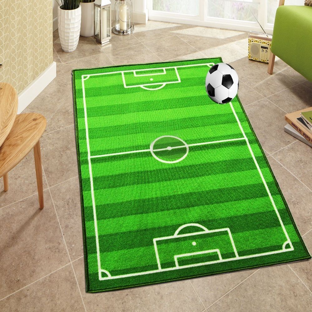Kids Boys S Football Field Carpet Playroom Bedroom Floor Rug Fun Play Mats