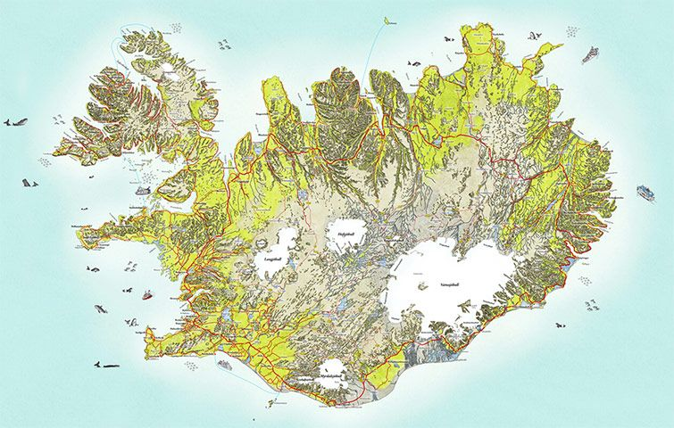 Readersmaps: Iceland, hand-drawn road map by Borgarmynd-Design Studio, icelandillustrated.com