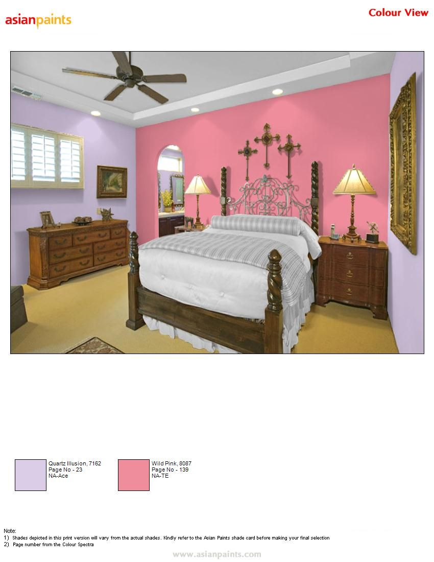 For master bed room customer like pink and purple combination so i gave  this color combination. For master bed room customer like pink and purple combination so i