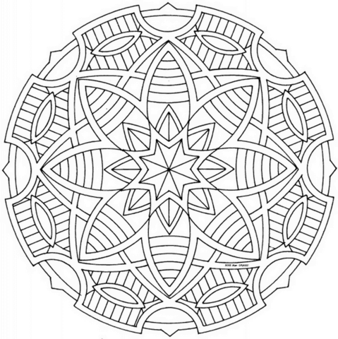 Click To See Printable Version Of Celtic Mandala With Stars Coloring Page