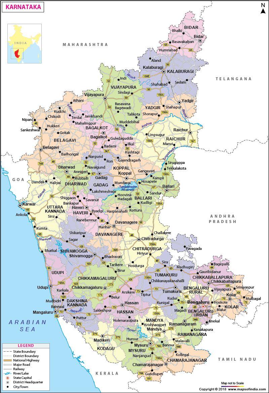 Map India Map Karnataka [ 1170 x 800 Pixel ]