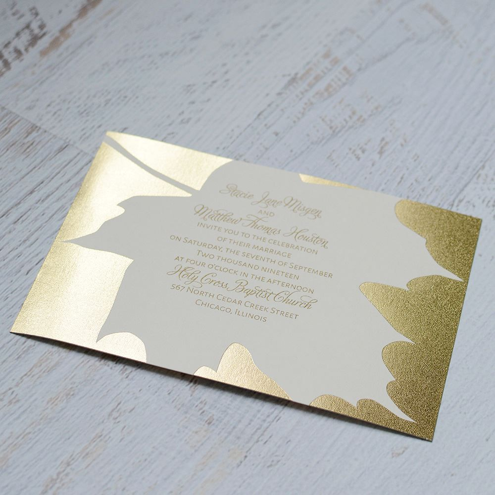 Gold Leaf Foil Invitation Make Guests Swoon Over This Beautiful Gold Leaf Foil Design Foil Wedding Invitations Foil Invitations Gold Wedding Invitations