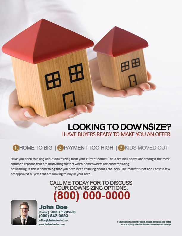 A Flyer Helping Target Homeowners Who Are Looking To Downsize Farmingflyers Real Estate Marketing Flyers Real Estate Flyers Real Estate Marketing