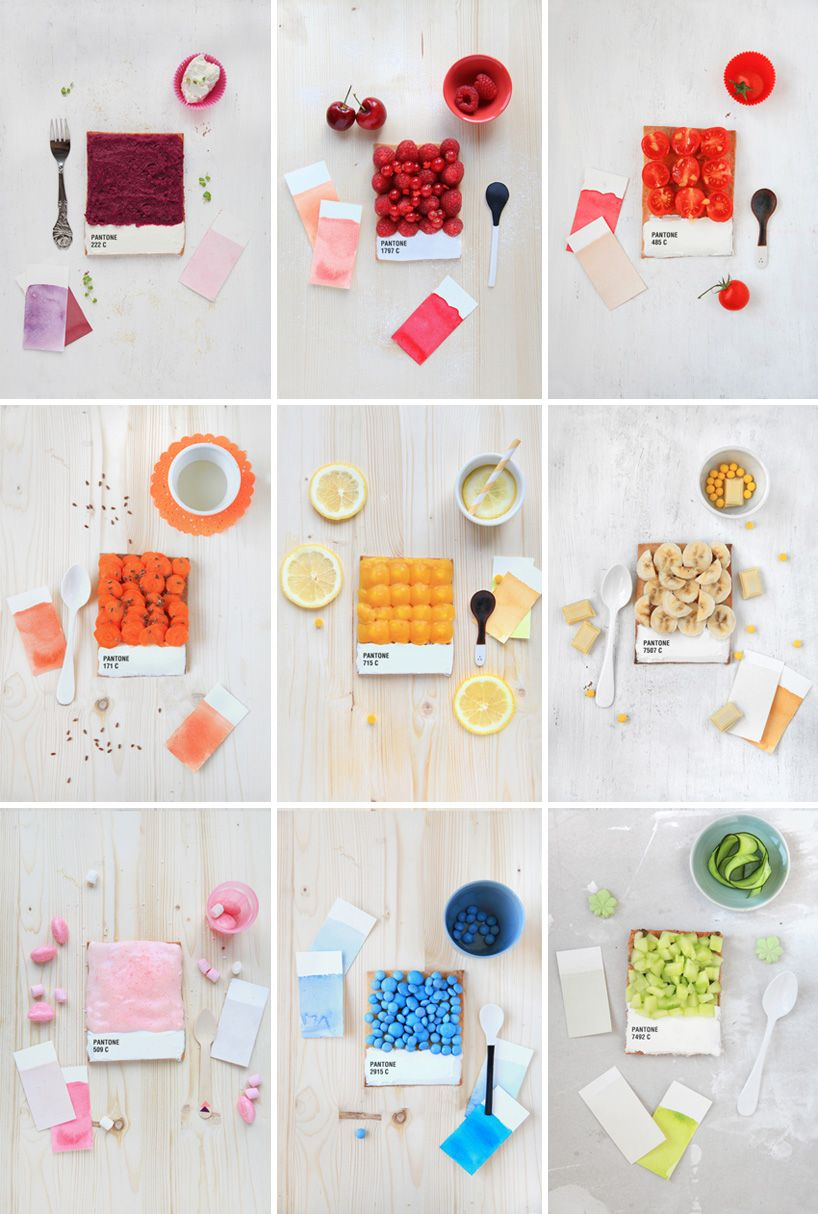 french food designer emilie de griottes developed dessert tarts  that recreate pantone colour swatches. berries, carrots, lemon, candies, and other foods are arranged upon a tart base,  whose bottom is iced in white and marked with the pantone colour represented. recipes for making the tarts are available  in fricote issue number 6 (2012)