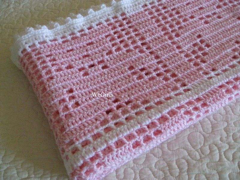 Crochet Baby Blanket Afghan Teddy Bear Filet Pink Pinterest Baby