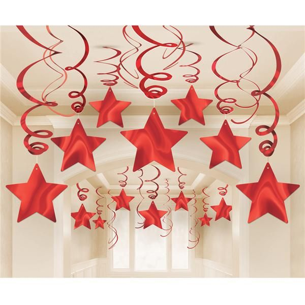 Pack 30 estrellas rojas colgantes diy carnaval for Decoracion para pared san valentin