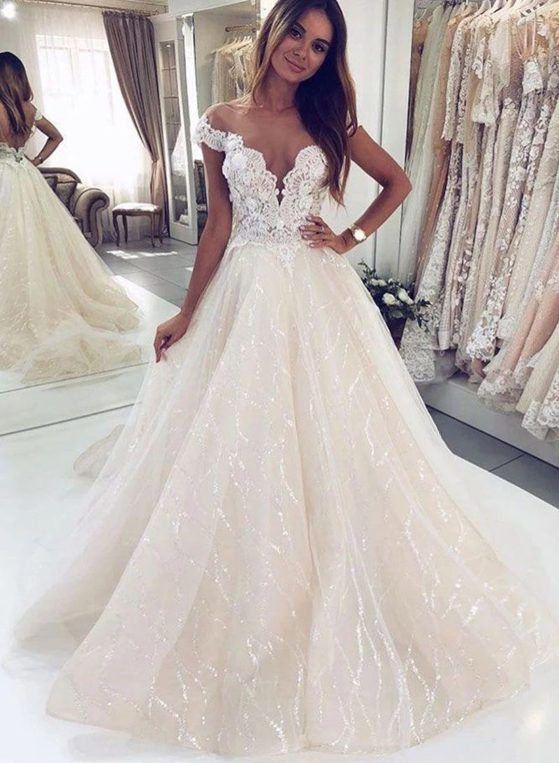 Shining Champagne Lace Wedding Dress V Neck Backless Wedding Dress