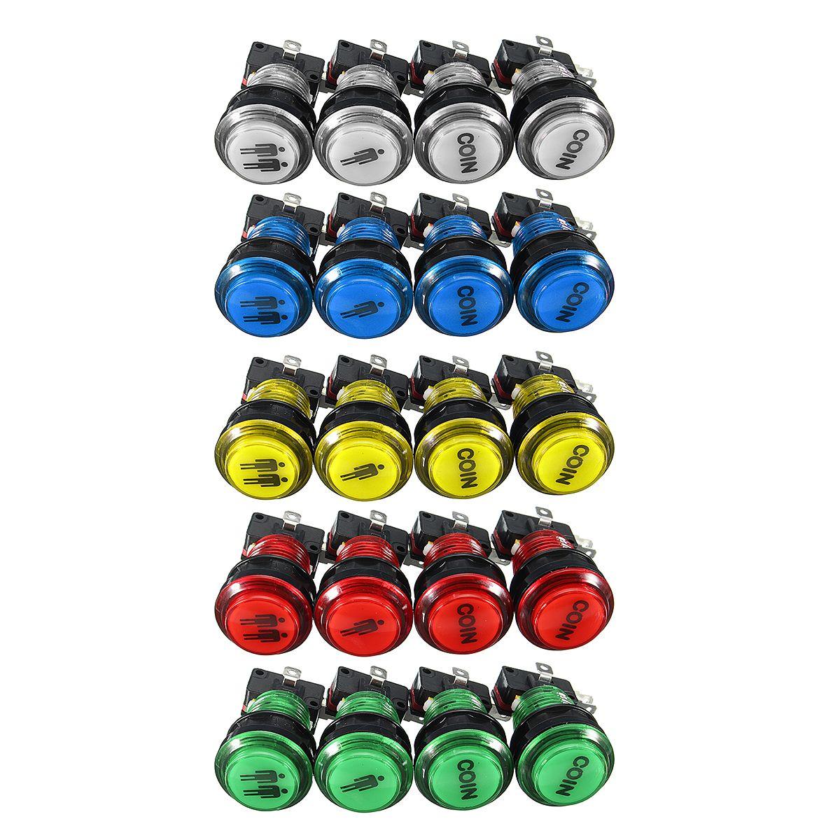 LED Arcade Single Doble Inicio Jugador Coin Push Button