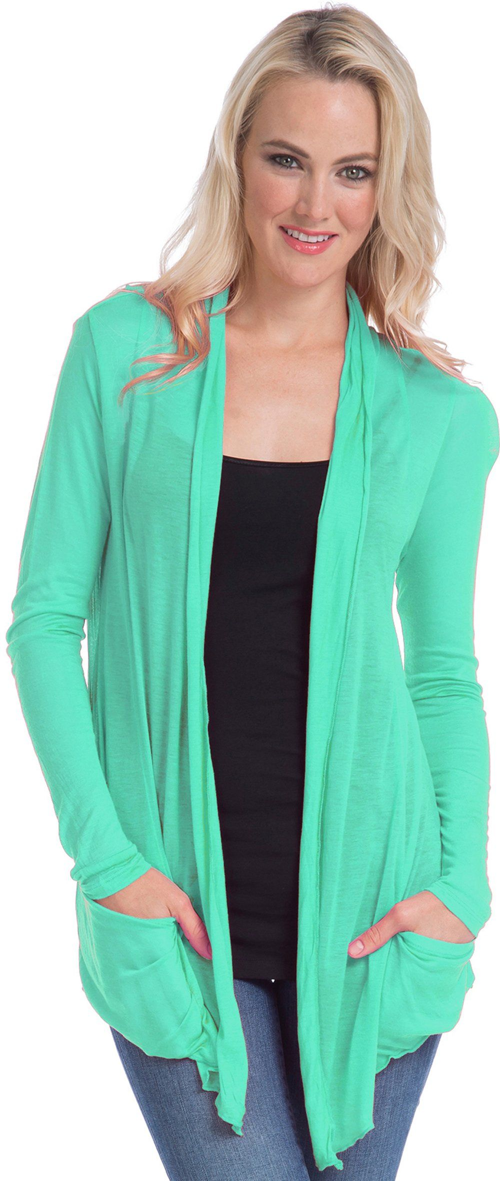 Semi-sheer Cardigan Cover-up with Pockets, 3X, Sea-Green | My ...